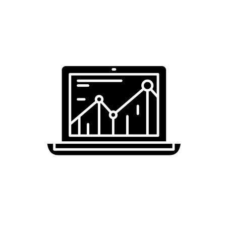 Productivity increase black icon, concept vector sign on isolated background. Productivity increase illustration, symbol
