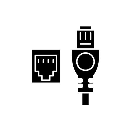 Câble réseau et prise icône noire, signe de vecteur de concept sur fond isolé. Câble réseau et illustration de la prise, symbole