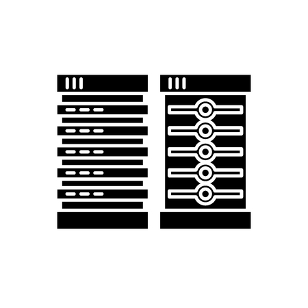 Servers black icon, concept vector sign on isolated background. Servers illustration, symbol