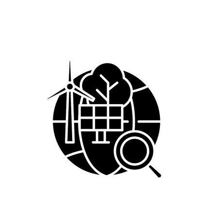 Alternative energy black icon, concept vector sign on isolated background. Alternative energy illustration, symbol