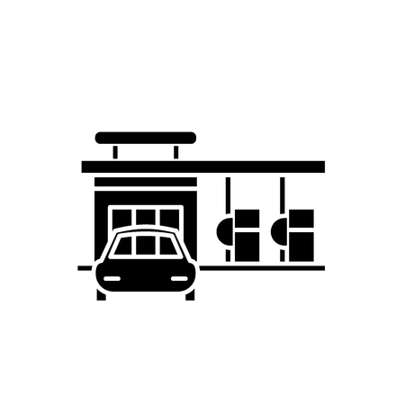 Small gas station black icon, concept vector sign on isolated background. Small gas station illustration, symbol