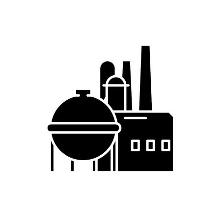 Chemical factory black icon, concept vector sign on isolated background. Chemical factory illustration, symbol Illustration