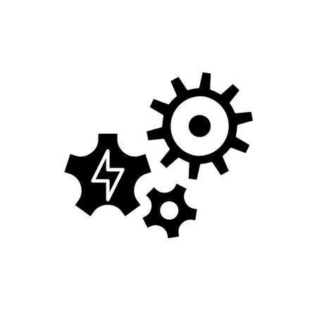 Power supply black icon, concept vector sign on isolated background. Power supply illustration, symbol