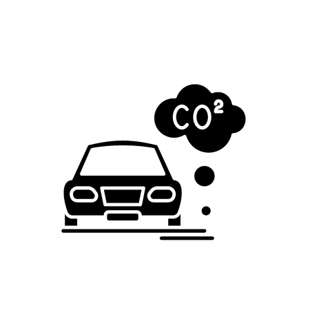 Motor vehicle pollution black icon, concept vector sign on isolated background. Motor vehicle pollution illustration, symbol