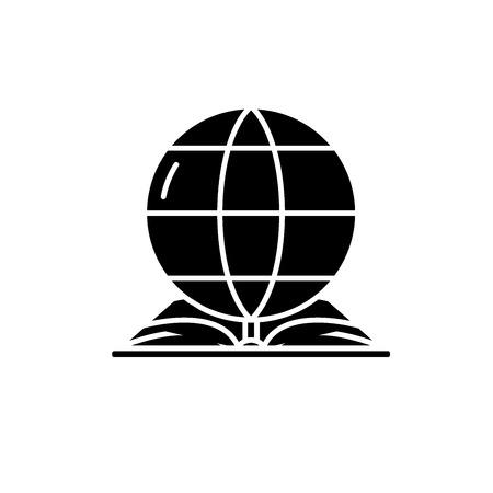 Icône noire du droit mondial, signe de vecteur de concept sur fond isolé. Illustration du droit mondial, symbole