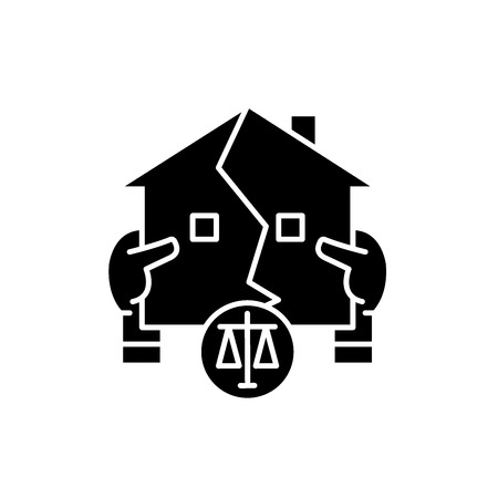 Real estate law black icon, concept vector sign on isolated background. Real estate law illustration, symbol
