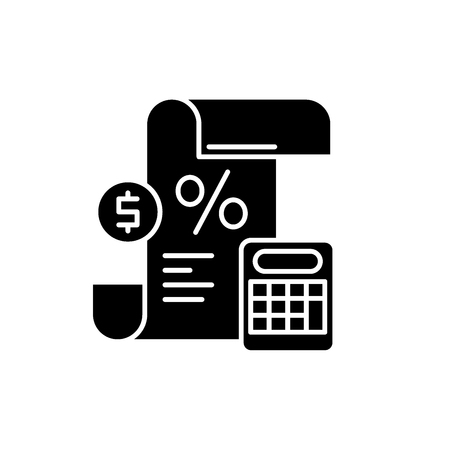 Profit and loss statement black icon, concept vector sign on isolated background. Profit and loss statement illustration, symbol Illustration