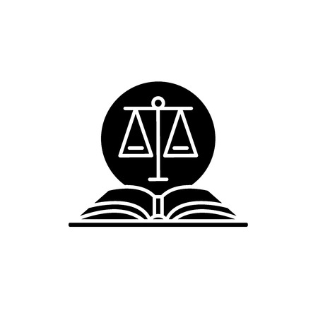 Legal code black icon, concept vector sign on isolated background. Legal code illustration, symbol Illustration