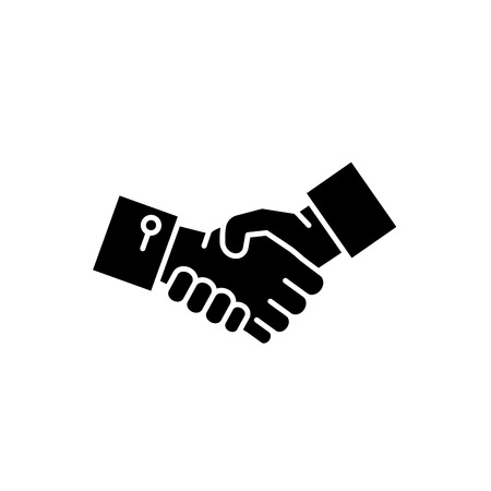 Shake hands black icon, concept vector sign on isolated background. Shake hands illustration, symbol