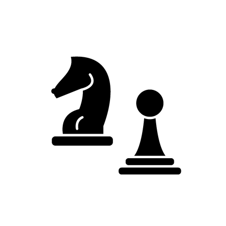 Knight and pawn black icon, concept vector sign on isolated background. Knight and pawn illustration, symbol Ilustração