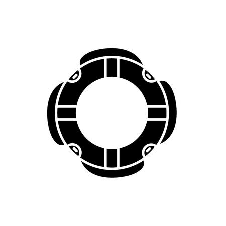 Insuarance lifebuoy black icon, concept vector sign on isolated background. Insuarance lifebuoy illustration, symbol