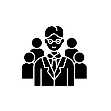 Leading top manager black icon, concept vector sign on isolated background. Leading top manager illustration, symbol Illustration