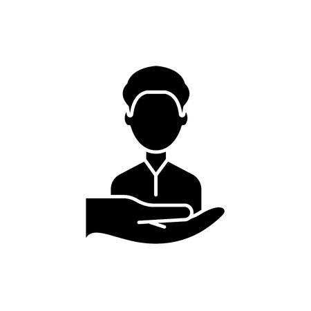 Return customers black icon, concept vector sign on isolated background. Return customers illustration, symbol 版權商用圖片 - 127266582