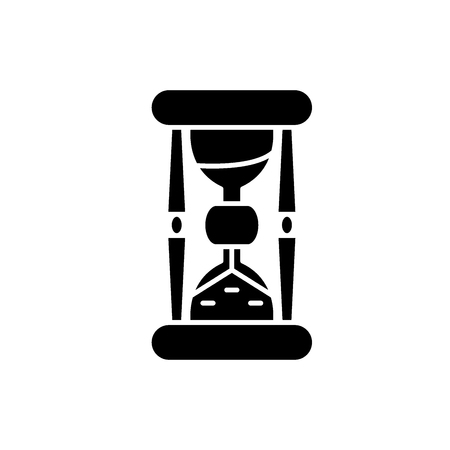 Hourglass black icon, concept vector sign on isolated background. Hourglass illustration, symbol Illustration