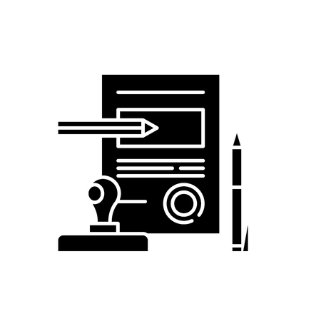Signing a contract black icon, concept vector sign on isolated background. Signing a contract illustration, symbol