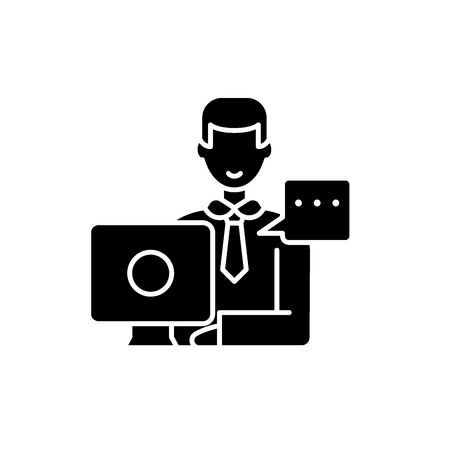 Operational meeting black icon, concept vector sign on isolated background. Operational meeting illustration, symbol