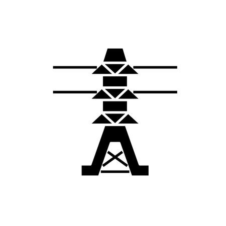 Stromleitungen schwarzes Symbol, Konzeptvektorzeichen auf isoliertem Hintergrund. Stromleitungen Abbildung, Symbol