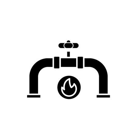 Gas pipeline black icon, concept vector sign on isolated background. Gas pipeline illustration, symbol