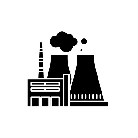 Thermal power plant black icon, concept vector sign on isolated background. Thermal power plant illustration, symbol