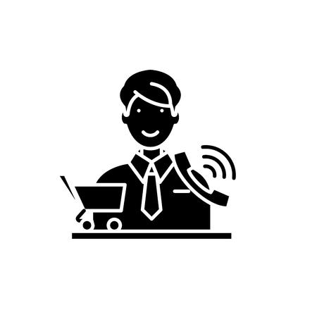 Telemarketing black icon, concept vector sign on isolated background. Telemarketing illustration, symbol