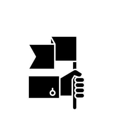 Advantage black icon, concept vector sign on isolated background. Advantage illustration, symbol Ilustração