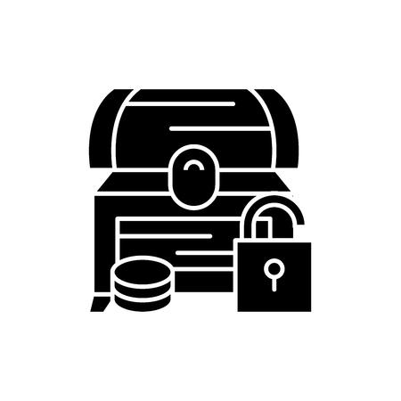 Treasure chest black icon, concept vector sign on isolated background. Treasure chest illustration, symbol