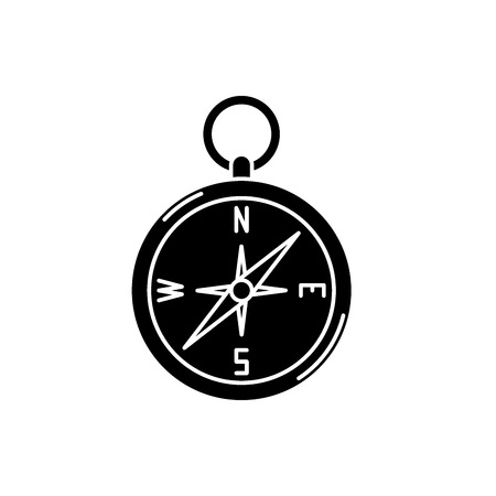Navigation compass black icon, concept vector sign on isolated background. Navigation compass illustration, symbol 스톡 콘텐츠 - 127266641