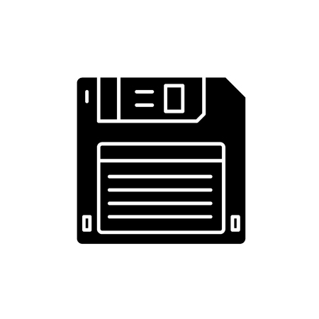 Diskette black icon, concept vector sign on isolated background. Diskette illustration, symbol Illustration