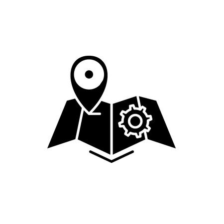 Logistics black icon, concept vector sign on isolated background. Logistics illustration, symbol
