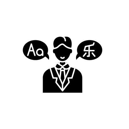 Translator black icon, concept vector sign on isolated background. Translator illustration, symbol