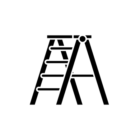 Folding ladder black icon, concept vector sign on isolated background. Folding ladder illustration, symbol