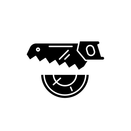 Wood saw black icon, concept vector sign on isolated background. Wood saw illustration, symbol Illustration