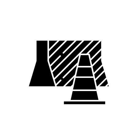 Suburban signs black icon, concept vector sign on isolated background. Suburban signs illustration, symbol Illusztráció