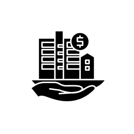 Immobilienbewertung schwarzes Symbol, Konzeptvektorzeichen auf isoliertem Hintergrund. Abbildung der Immobilienbewertung, Symbol Vektorgrafik