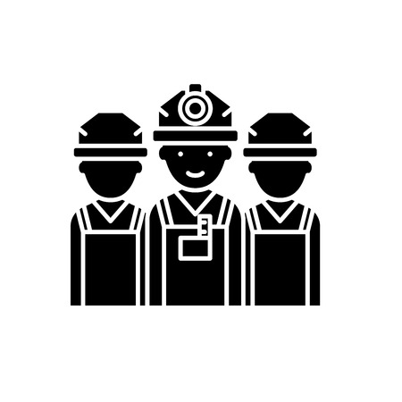 Builders black icon, concept vector sign on isolated background. Builders illustration, symbol  イラスト・ベクター素材
