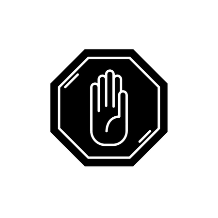 Stop black icon, concept vector sign on isolated background. Stop illustration, symbol Ilustração