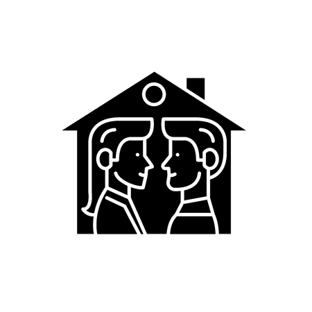 House for two black icon, concept vector sign on isolated background. House for two illustration, symbol
