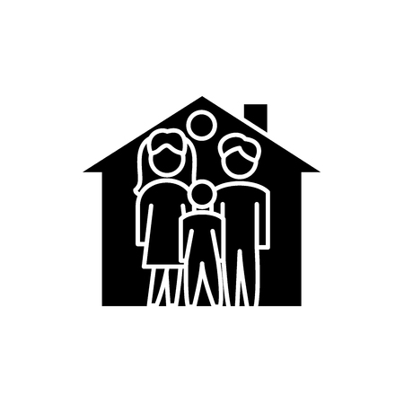 Family house black icon, concept vector sign on isolated background. Family house illustration, symbol Stock Illustratie