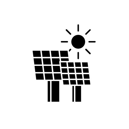 Solar power black icon, concept vector sign on isolated background. Solar power illustration, symbol