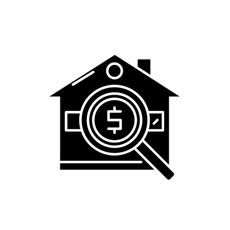 Analysis of real estate prices black icon, concept vector sign on isolated background. Analysis of real estate prices illustration, symbol
