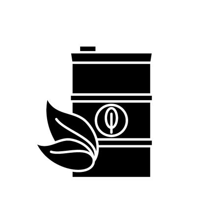 Bio fuel black icon, concept vector sign on isolated background. Bio fuel illustration, symbol