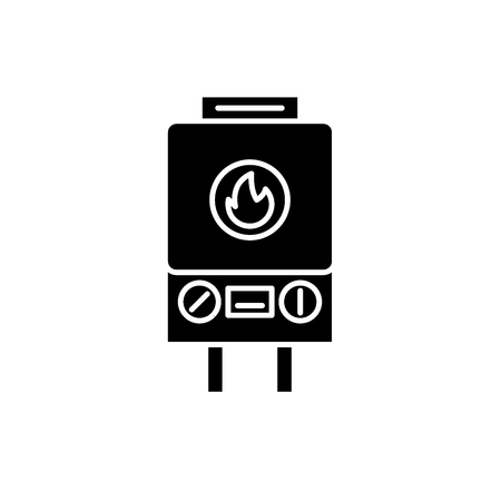 Gas heating black icon, concept vector sign on isolated background. Gas heating illustration, symbol Illustration