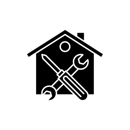 Repairs black icon, concept vector sign on isolated background. Repairs illustration, symbol
