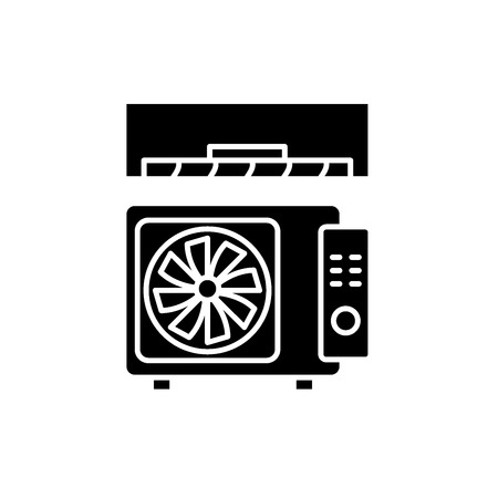 Air conditioning black icon, concept vector sign on isolated background. Air conditioning illustration, symbol  イラスト・ベクター素材