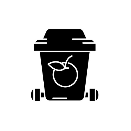 Garbage recycling black icon, concept vector sign on isolated background. Garbage recycling illustration, symbol