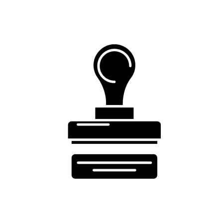 Stamp of the company black icon, concept vector sign on isolated background. Stamp of the company illustration, symbol
