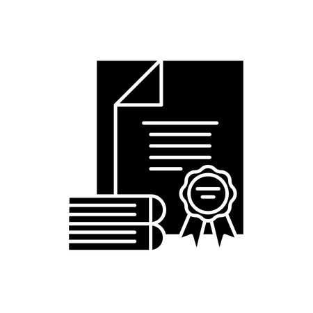 Certification black icon, concept vector sign on isolated background. Certification illustration, symbol Banque d'images - 127266737