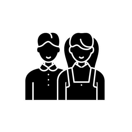 Scholar black icon, concept vector sign on isolated background. Scholar illustration, symbol Illustration