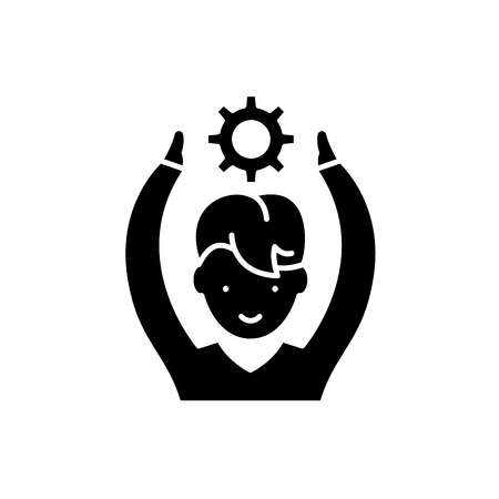 Employee potential black icon, concept vector sign on isolated background. Employee potential illustration, symbol Illustration