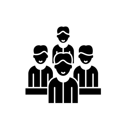 Agile team black icon, concept vector sign on isolated background. Agile team illustration, symbol